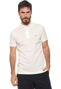 Camisa Polo Tommy Hilfiger Slim Logo Off-White