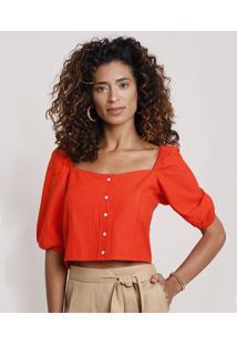 Blusa Feminina Cropped Com Linho Manga Bufante Decote Redondo Laranja