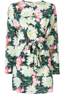 Layeur Blusa Floral Com Transpasse - Verde