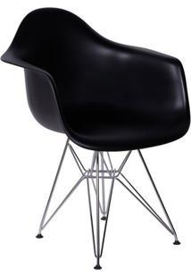 Poltrona Eames Dar- Preta & Prateada- 82X63X44Cmor Design
