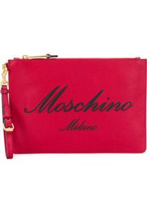 Moschino Logo Zipped Clutch - Vermelho