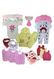 Kit 15Pç Roupinha De Bebê Masculino Feminino Barato Enxoval Rosa