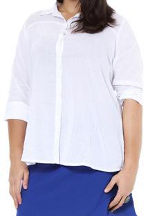 Camisa Ênfase Plus Com Recortes Branco