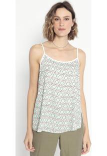 Blusa Geométrica Com Recortes- Verde & Rosa- Cotton Cotton Colors Extra