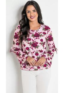 0e9b603c61 ... Blusa Floral Com Mangas Amplas
