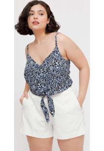 Regata Cropped Plus Size Com Amarração Azul