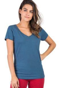 Blusa Gola V Básica Flamê Taco - Feminino-Azul