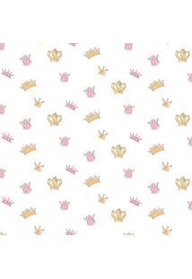 Papel De Parede Coleção Bim Bum Bam Rosa Dourado Branco Coroas 2204 Cristiana Masy