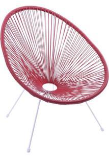 Cadeira Acapulco- Vermelha & Branca- 85X69X50Cm-Or Design