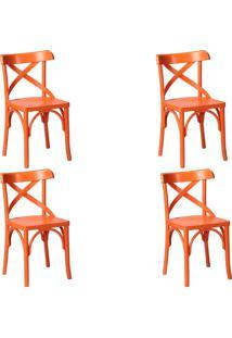 Kit 4 Cadeiras Decorativas Gran Belo Crift Laranja