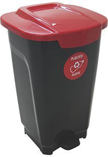 Lixeira Em Plastico T-Force Preto E Vermelho 50 Litros Tramontina 92813/409