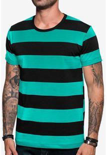 Camiseta Listrada Preta E Turquesa 103876