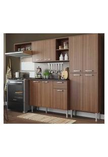 Cozinha Compacta Xangai 9 Portas Multimóveis Nogueira Marrom