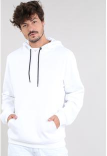 Blusão Masculino Em Moletom Com Capuz E Bolso Branco