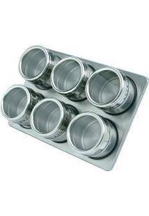 Porta Condimentos Magnético Com 06 Unidades Inox Cozinha