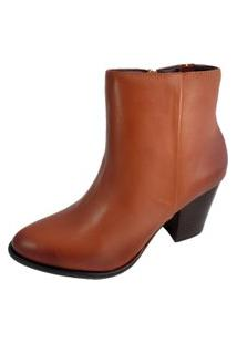 Ankle Boot Salto Sapatoweb Couro Caramelo