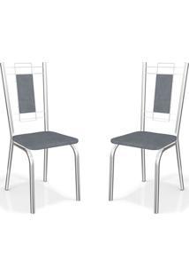 Kit Com 2 Cadeiras Florença Cinza Kappesberg
