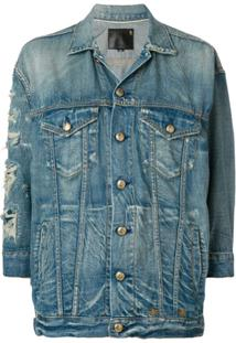R13 Distressed Denim Jacket - Azul