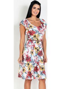 Vestido Com Babado Floral Moda Evangélica