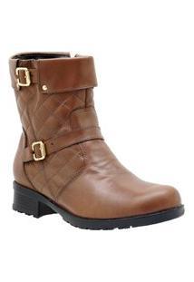 Bota Casual Atron Shoes Couro Feminina Matelassê Flexível Marrom 40 Marrom