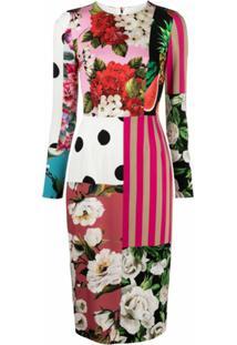 Dolce & Gabbana Vestido Com Estampa Patchwork - Branco