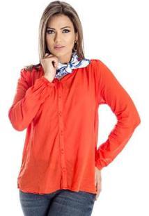 Camisa Com Lenço Cantão - Feminino-Laranja