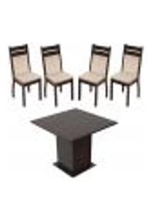 Sala De Jantar Madesa Mesa Tampo De Madeira Com 4 Cadeiras