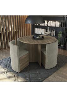 Conjunto Sala De Jantar Mesa Redonda 4 Cadeiras Estofadas Kappesberg Nogal/Bege