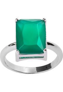 Anel Retangular The Ring Boutique Pedra Cristal Verde Esmeralda Ródio Ouro Branco