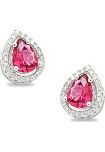 Brinco Royalz Semi Joia Prateado Cristal Rauany Pink Prata