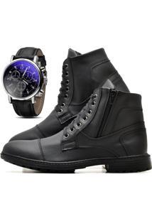 Bota Juilli Coturno Com Relógio Adventure Social R501L Preto