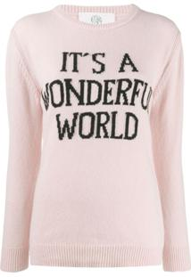 Alberta Ferretti Suéter Com Slogan - Rosa