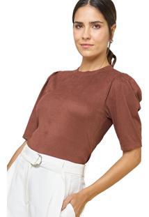 Blusa Mx Fashion De Suede Canelada Esmeralda Marrom - Tricae