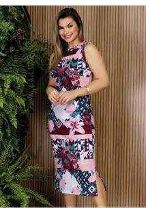 Vestido Floral Rosa Com Fendas Moda Evangélica