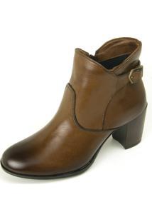 Bota Cano Curto Over Boots Any Caramelo - Caramelo - Feminino - Couro - Dafiti