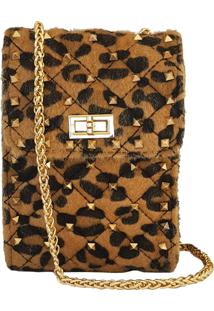 Mini Bolsa Bag Dreams Animal Print Com Spikes Caramelo - Kanui