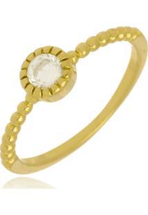 Anel Ponto De Luz Cristal Di Capri Semi Jóias X Ouro Dourado - Kanui