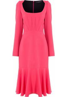 À La Garçonne Vestido Midi Decote Com Pregas - Rosa