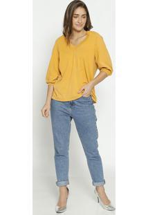 Blusa Com Recortes Canelados - Amarelo Escuro - Colccolcci