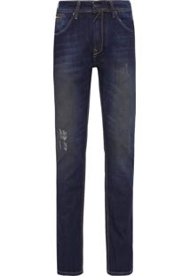 Calça Jeans Masculina Bolso Zíper - Azul