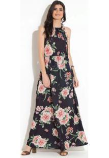 e6f2d9f4b ... Vestido Longo Floral Preto Com Amarração