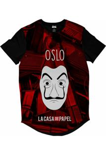 Camiseta Longline Attack Life La Casa De Papel Oslo Sublimada Vermelho