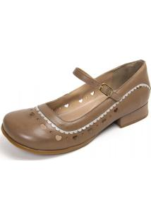 Sapato Gasparini Estilo Boneca Taupe/Branco