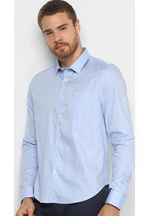 Camisa Calvin Klein Geneva Manga Longa Masculina - Masculino-Azul Claro