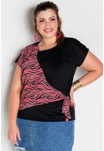 Blusa Transpassada Preta E Zebra Plus Size