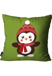Capa Para Almofada Mdecore Pinguim Verde 35X35