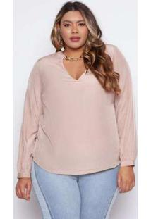 Blusa Almaria Plus Size Pianeta Liso Melão Rosa Rosa