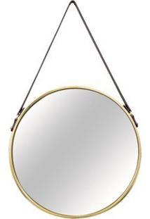 Espelho Redondo Em Metal Dourado E Couro P