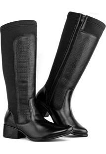 Bota Montaria Art Shoes Cano Alto Feminina - Feminino-Preto