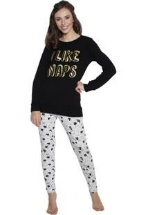 Pijama Longo Inspirate Cats Feminino - Feminino-Preto+Branco